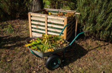 Un bac à compost dans un jardin et une brouette remplie de déchets végétaux