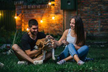Couple avec un chien dans un jardin avec en fond une guirlande lumineuse