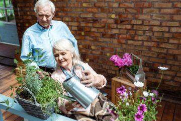 Couple de personnes âgées dont une personne à mobilité réduite arrosant des fleurs sur une terrasse