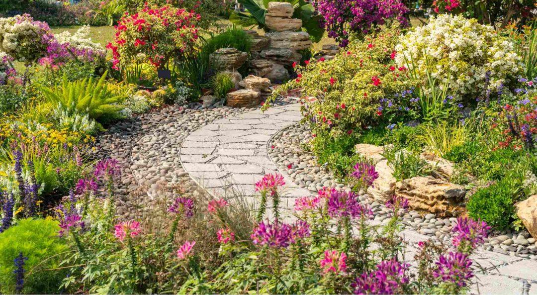 Joli dallage dans un jardin paysager