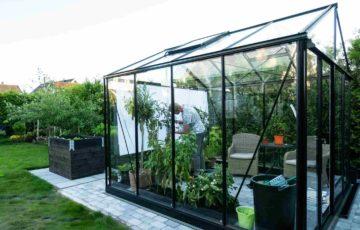 Un homme s'occupe de plantes dans une très belle serre de jardin