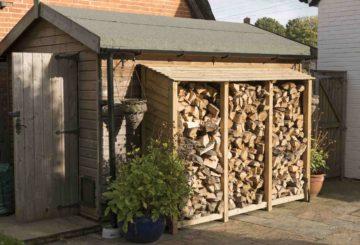 Un appentis de jardin addossé à un abri pour protéger le bois de chauffage ou de cheminée