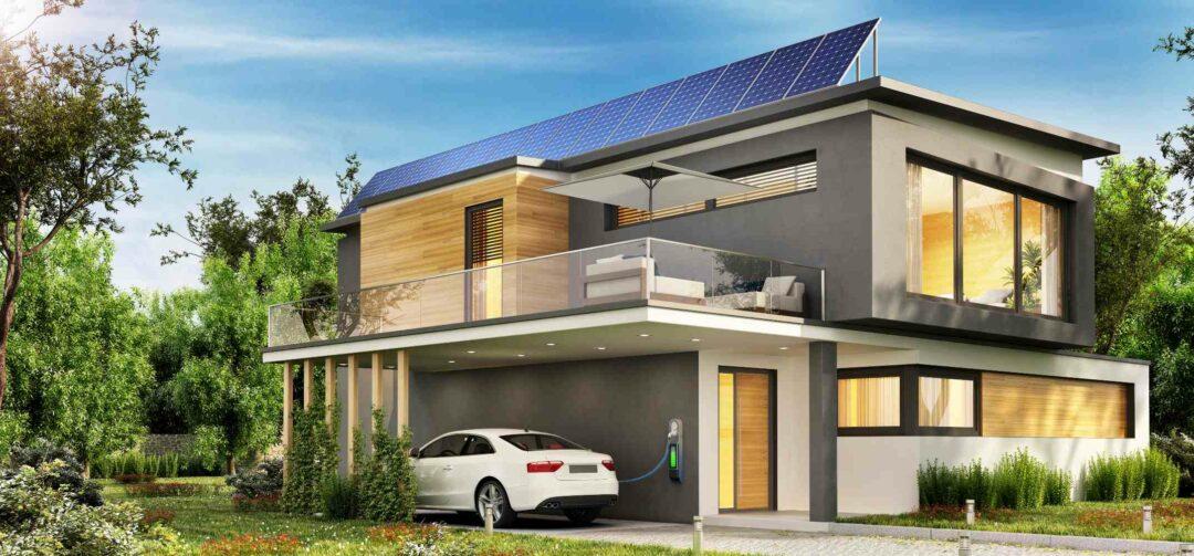 Vue d'artiste d'une belle maison avec borne de recharge pour voiture électrique