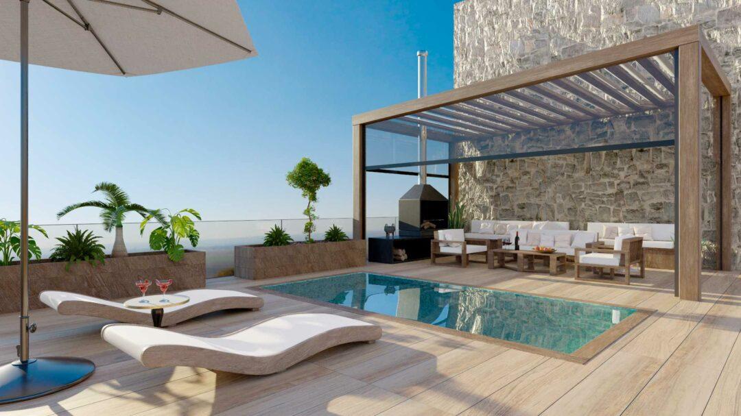 Une belle terrasse avec piscine dans un jardin avec optimisation des espaces
