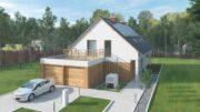 Une vue d'artiste avec une maison, sa cour, son parking et sa voiture électrique en recharge