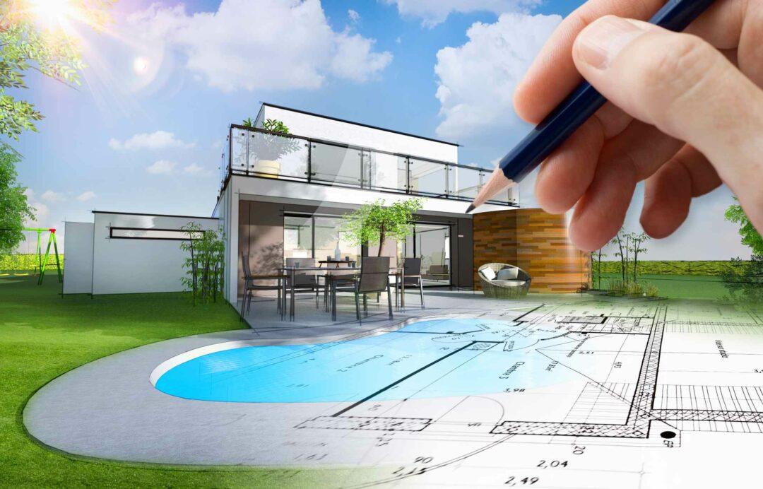 Un croquis d'une maison à construire avec ses extérieurs avec piscine, terrasse et jardin paysager